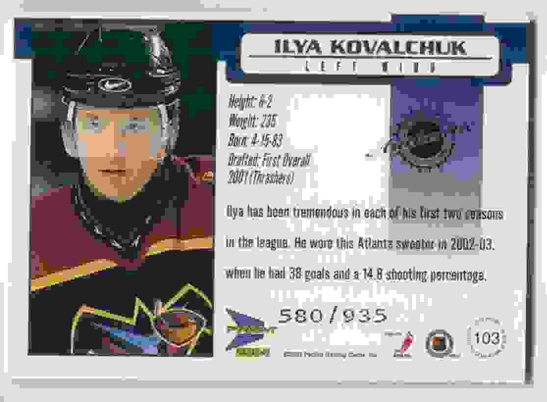2003-04 Pacific Prism Jersey Ilya Kovalchuk #103 card back image