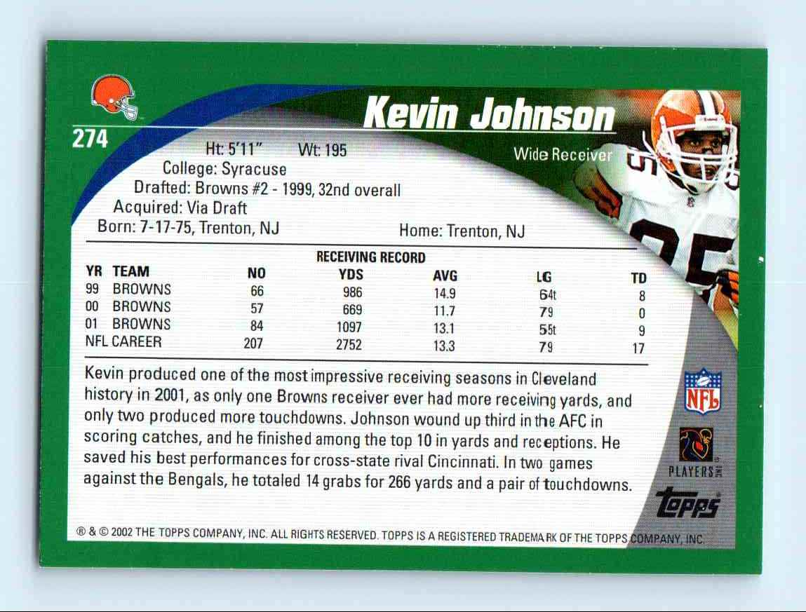 2002 Topps Kevin Johnson #274 card back image