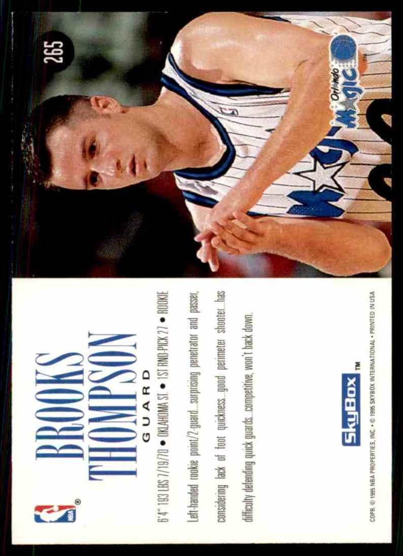 1994-95 Skybox Premium Brooks Thompson RC #265 card back image