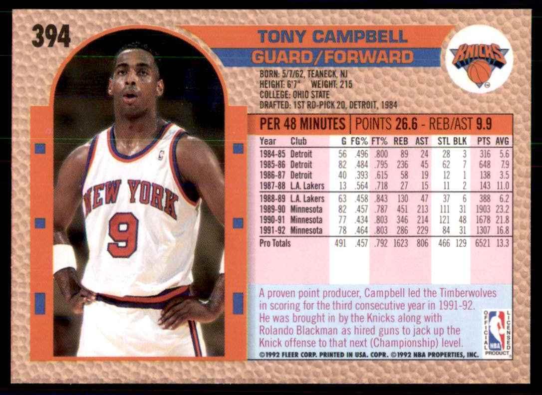 1992-93 Fleer Tony Campbell #394 card back image