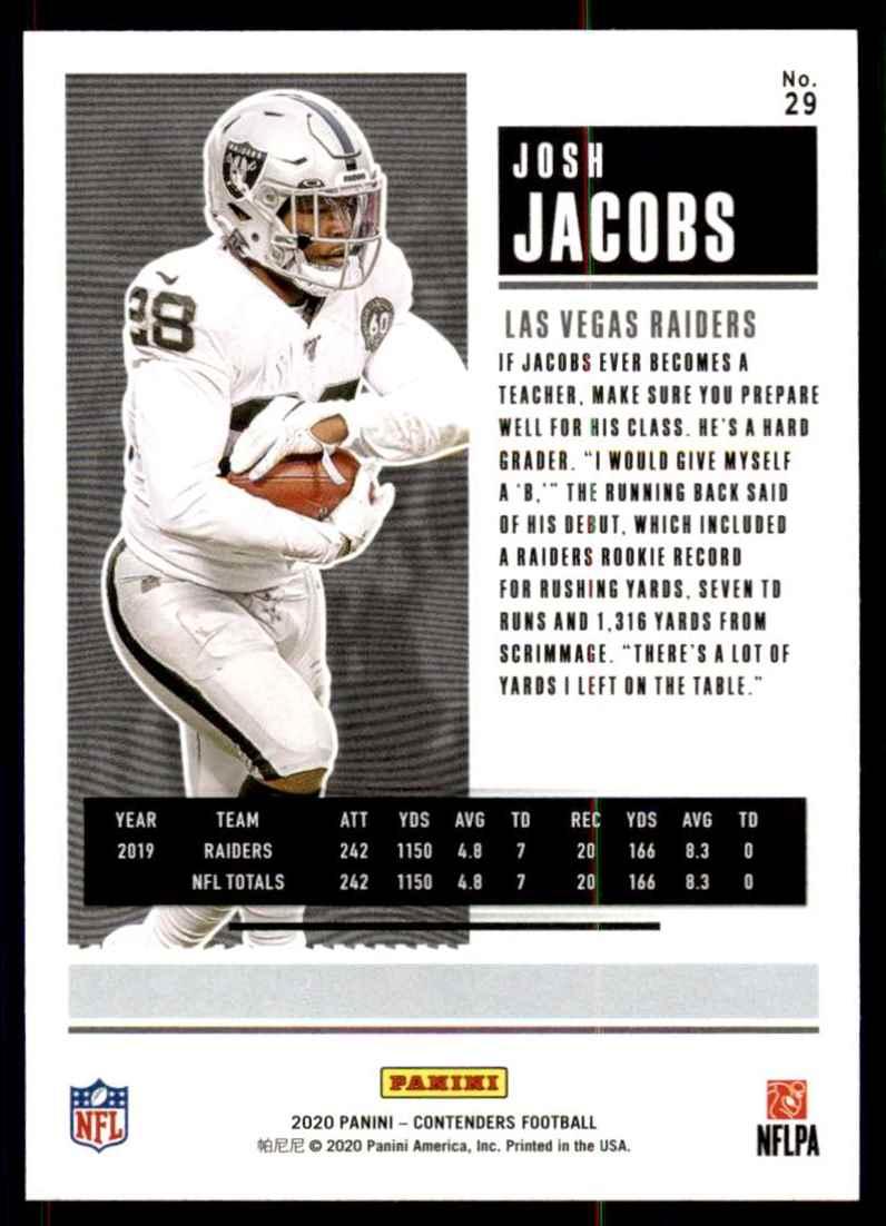 2020 Panini Contenders Josh Jacobs #29 card back image