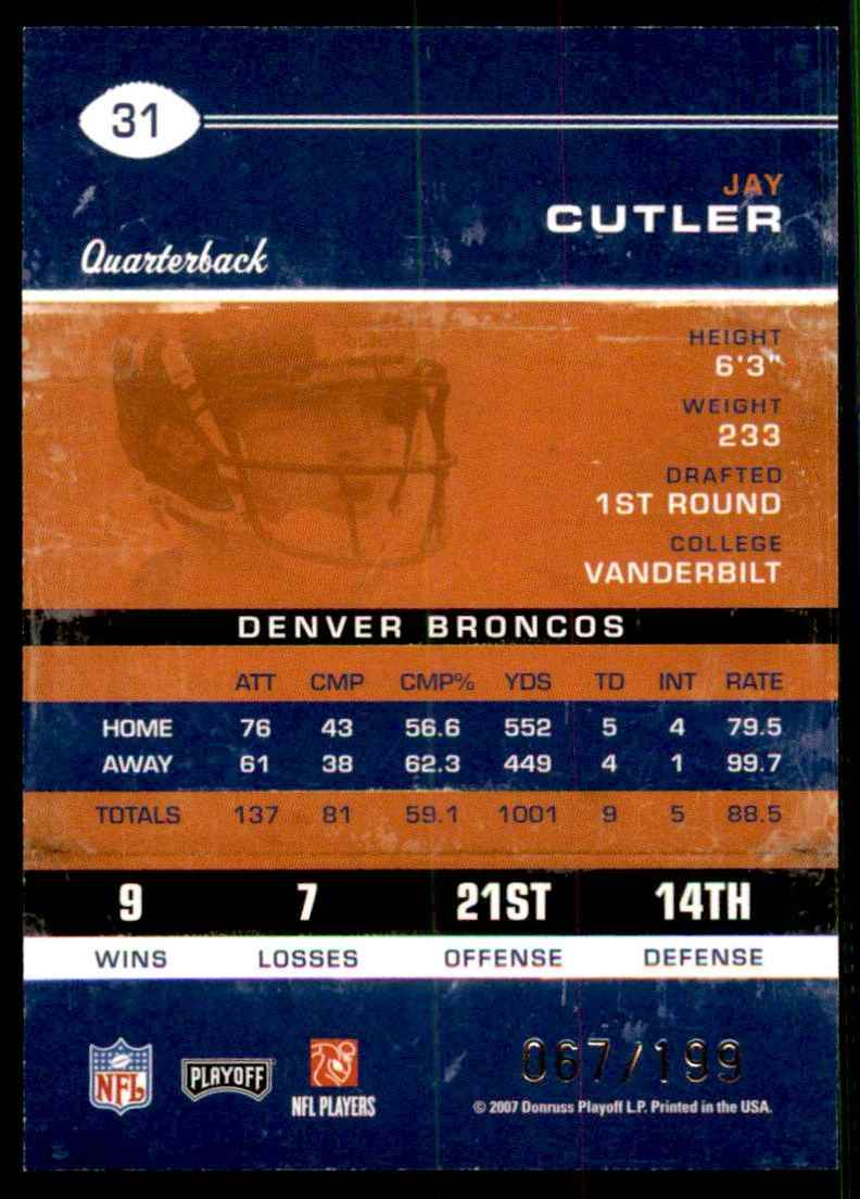 2007 Playoff Contenders Playoff Ticket Jay Cutler #31 card back image