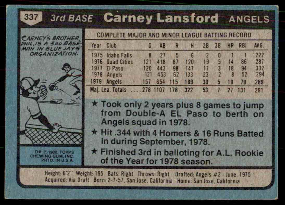 1980 Topps Carney Lansford #337 card back image