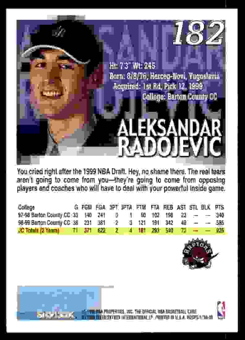 1999-00 Hoops Aleksandar Radojevic RC #182 card back image