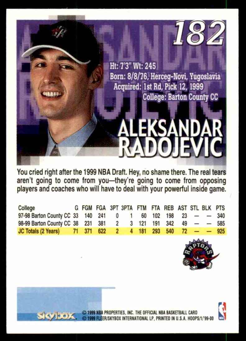 1999-00 Hoops Aleksandar Radojevic RC #182 card back image