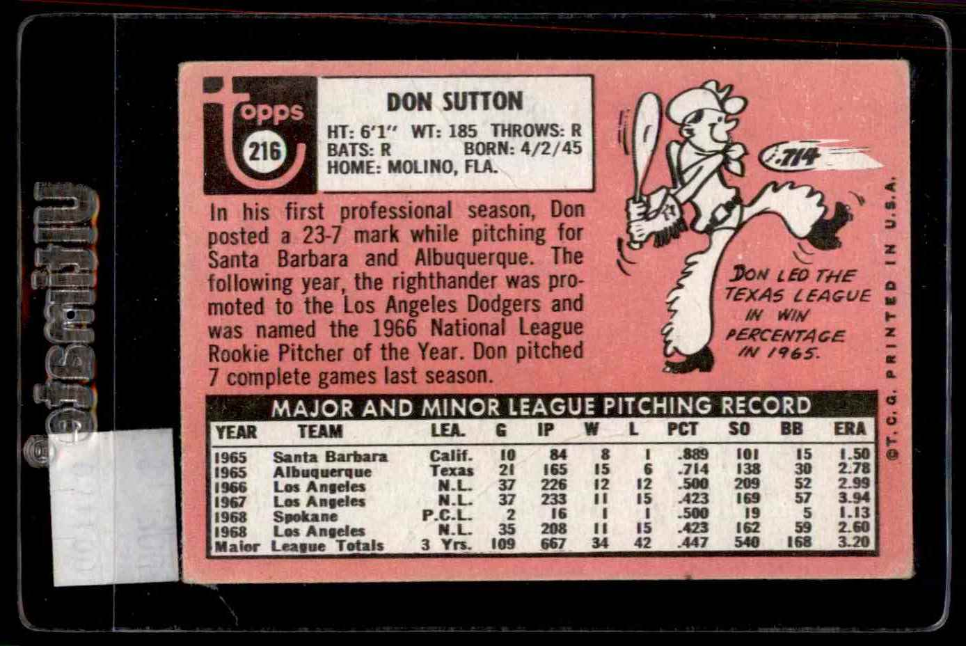 1969 Topps Don Sutton #216 card back image
