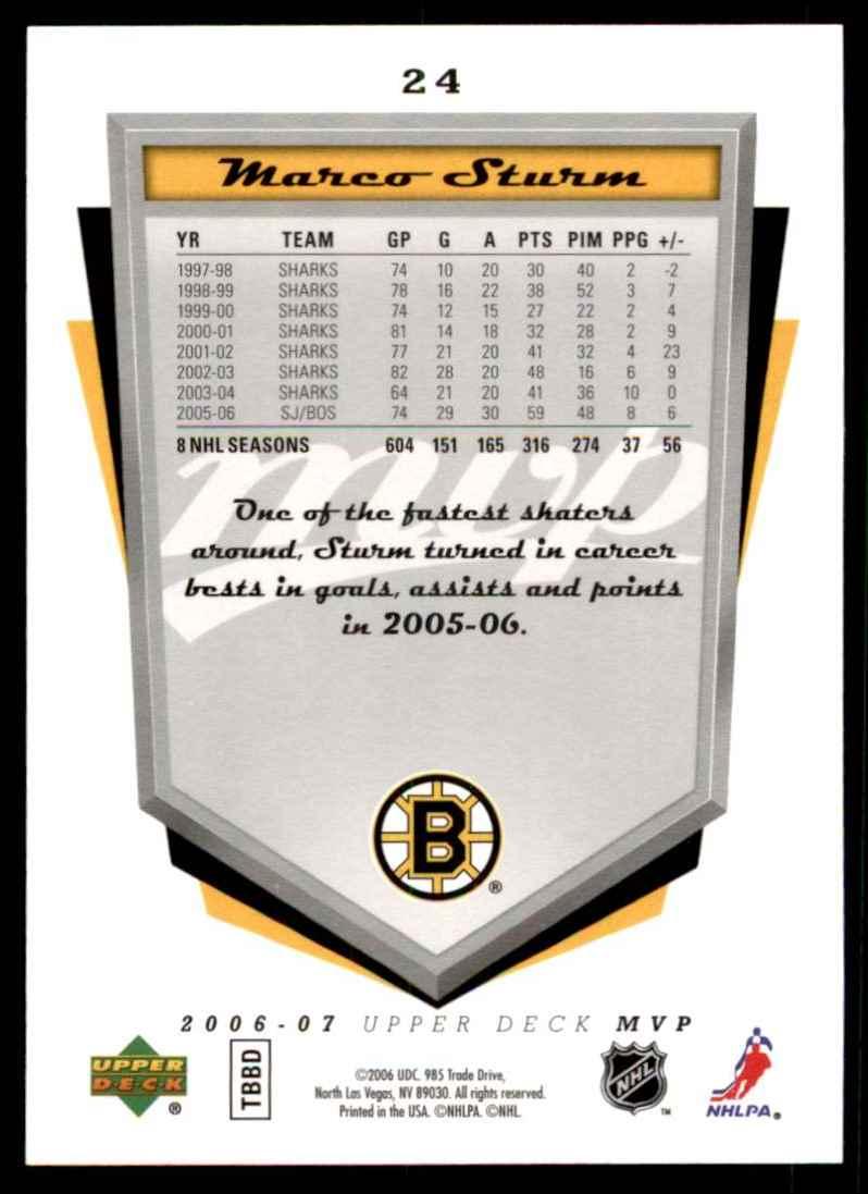 2006-07 Upper Deck MVP Marco Sturm #24 card back image