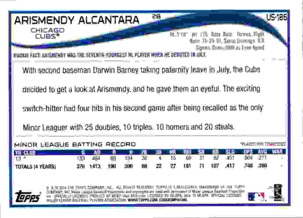 2014 Topps Update Arismendy Alcantara RC #US-186 card back image