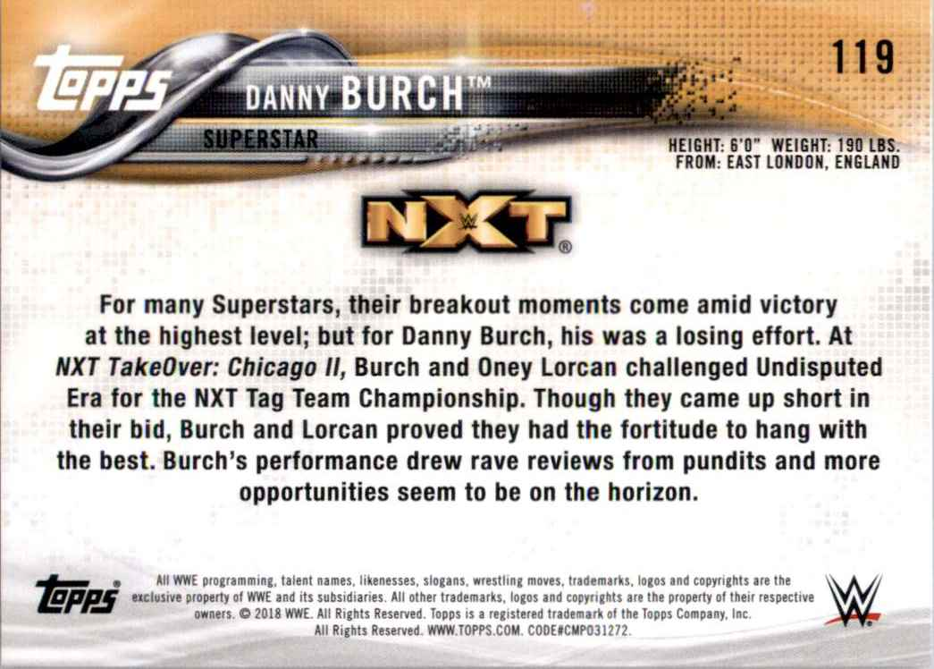2018 Topps Wwe Then Now Forever Danny Burch #119 card back image