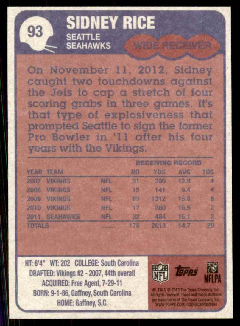 2013 Topps Archives Sidney Rice #93 card back image