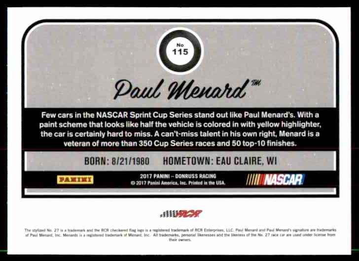 2017 Donruss Paul Menard #115 card back image