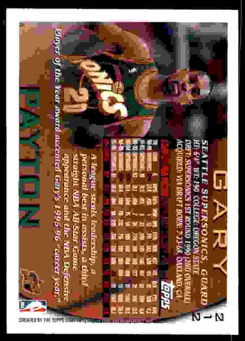 1996-97 Topps Gary Payton #212 card back image