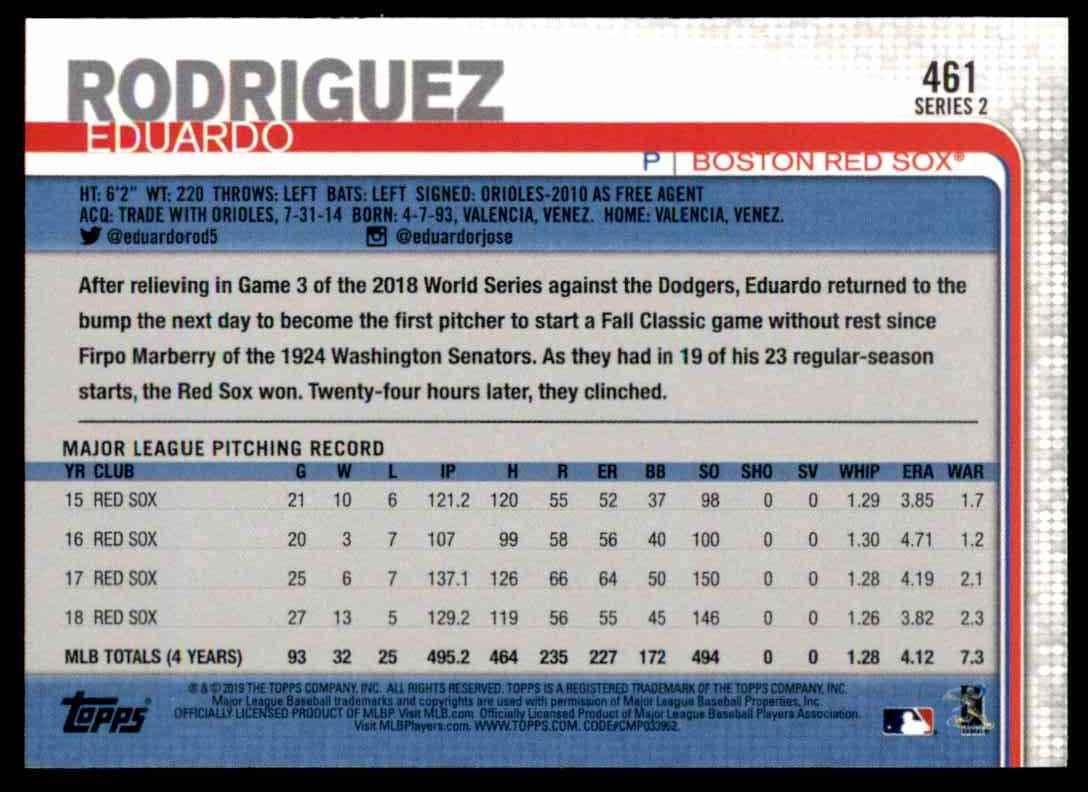 2019 Topps Series 2 Eduardo Rodriguez #461 card back image