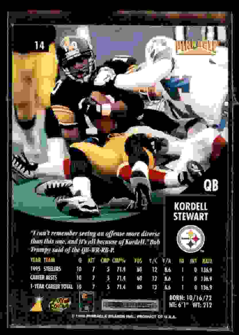 1996 Pinnacle Kordell Stewart #14 card back image