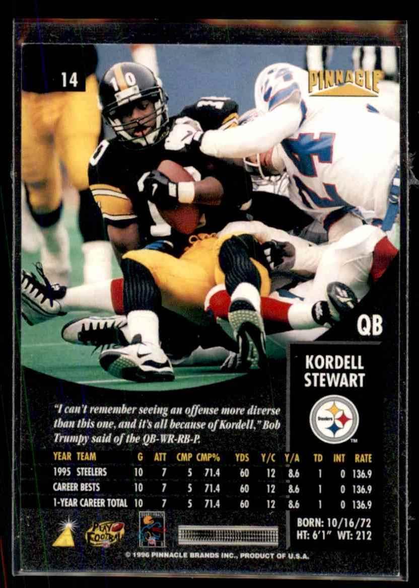1996 Pinnacle Kordell Stewart #14 card back image