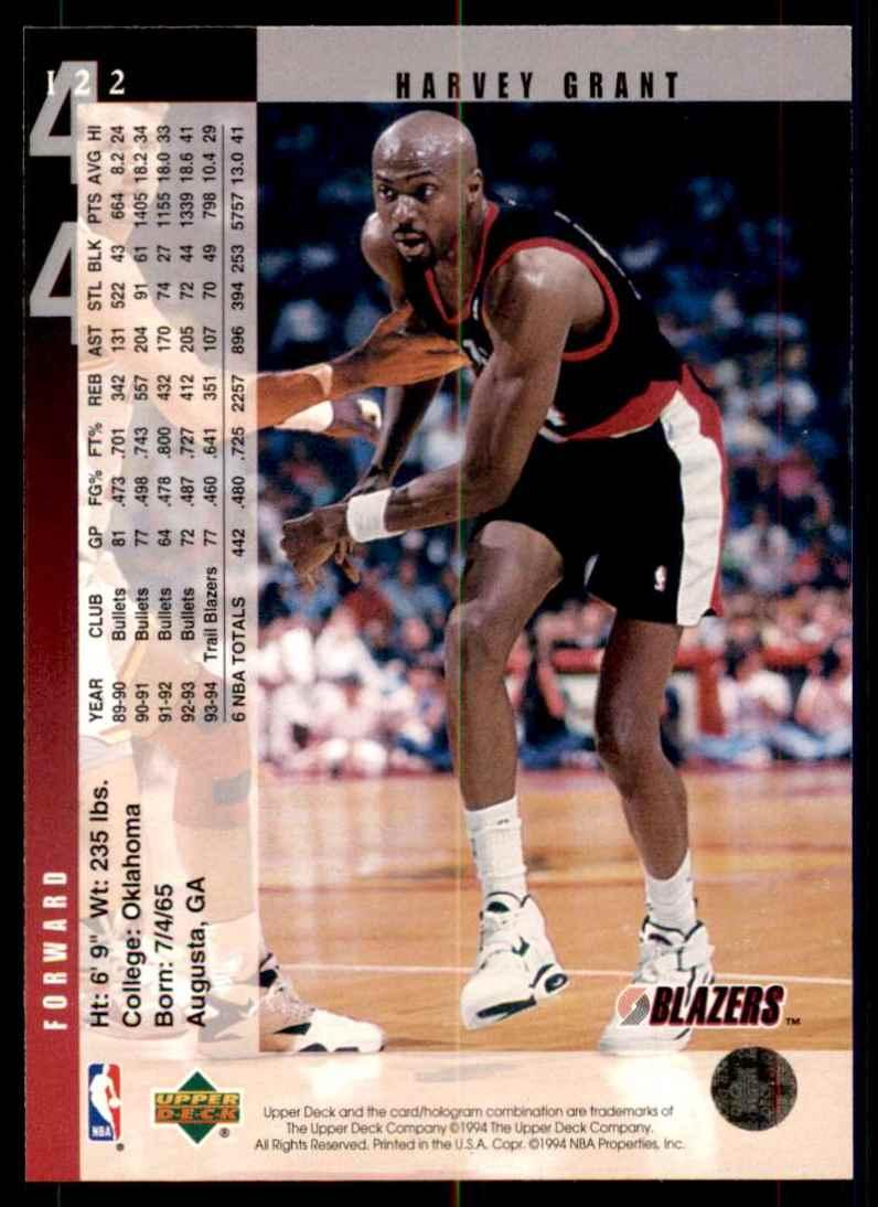 1994-95 Upper Deck Harvey Grant #122 card back image