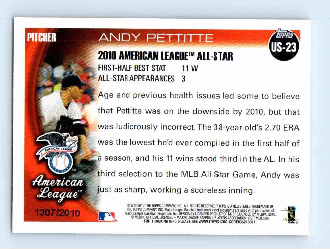 2010 Topps Update Gold Border Andy Pettitte #US-23 card back image