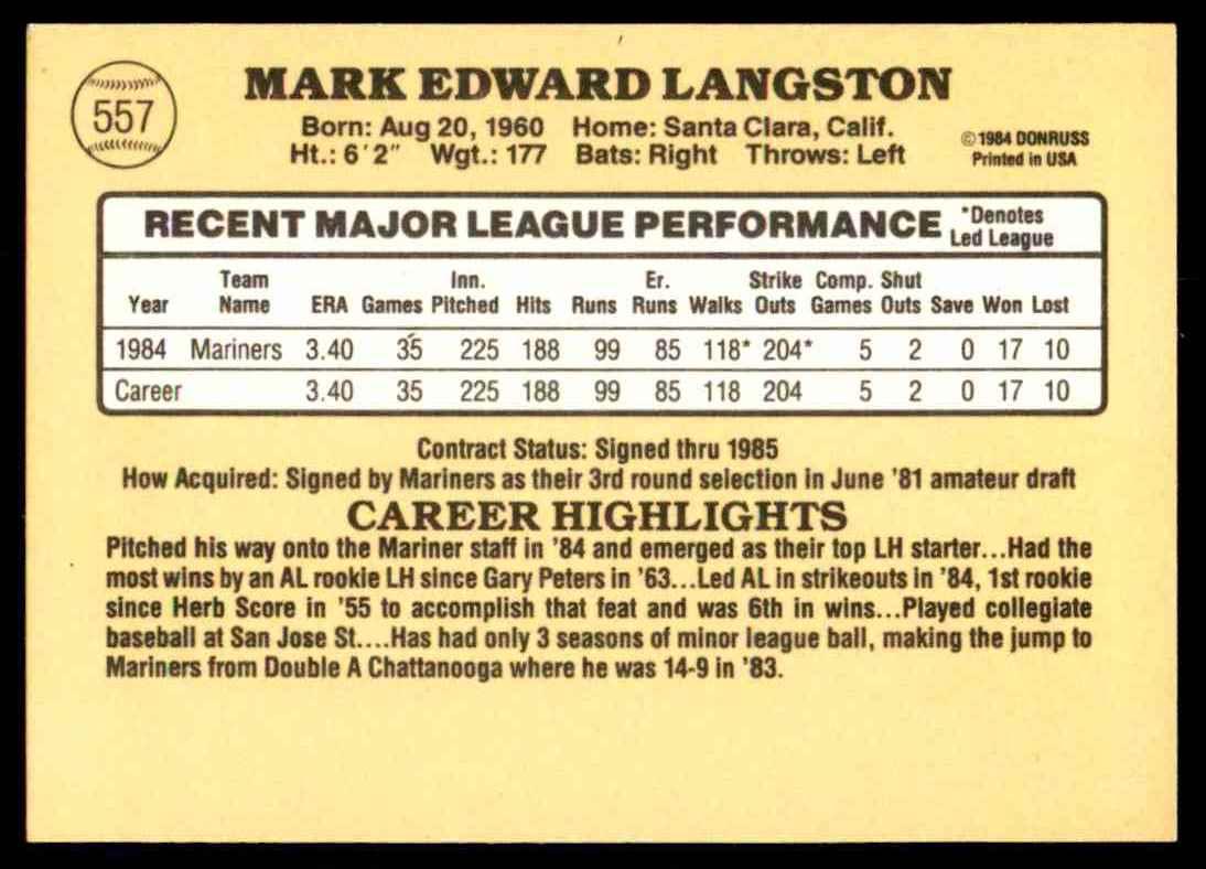 1985 Donruss Mark Langston #557 card back image