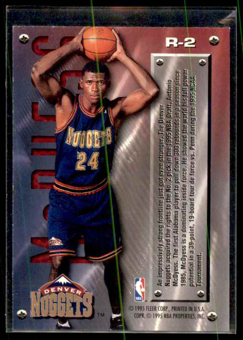 1995-96 Fleer Metal Rookie Roll Call Antonio McDyess #R2 card back image