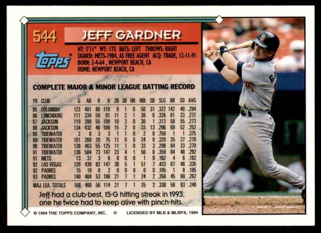 1994 Topps Jeff Gardner #544 card back image