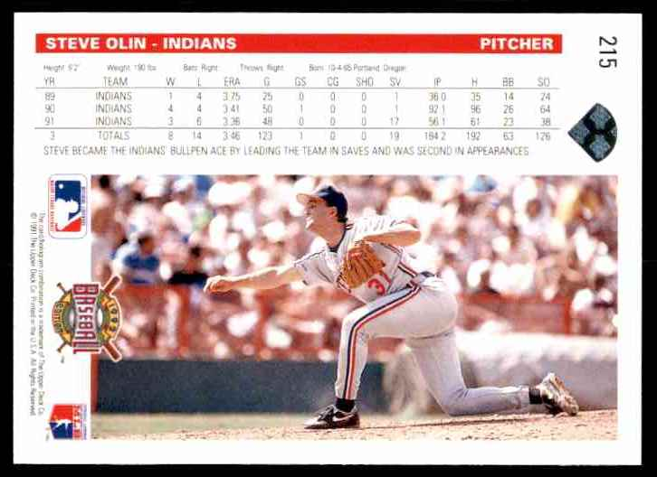 1992 Upper Deck Steve Olin #215 card back image