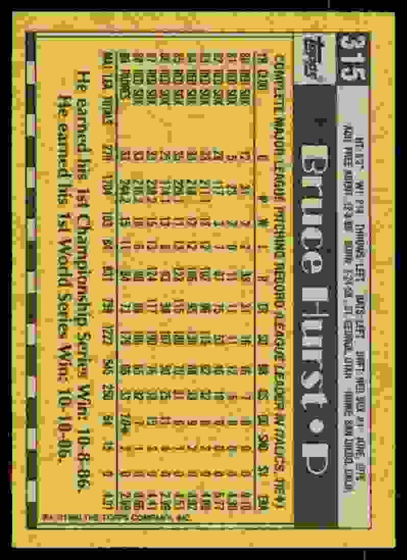 1990 Topps Bruce Hurst #315 card back image