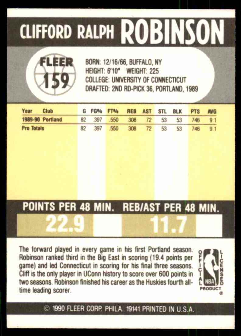 1990-91 Fleer Clifford Robinson RC #159 card back image