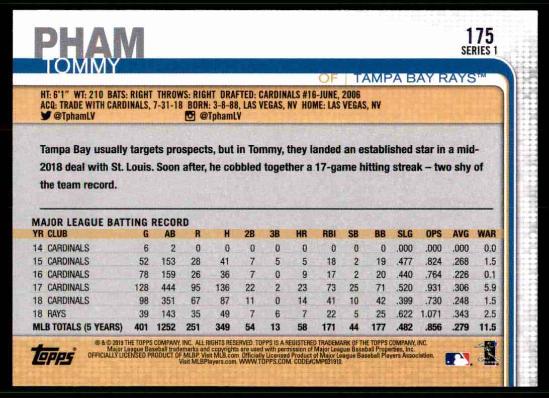 2019 Topps Tommy Pham #175 card back image