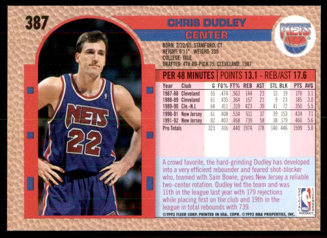 1992-93 Fleer Chris Dudley #387 card back image