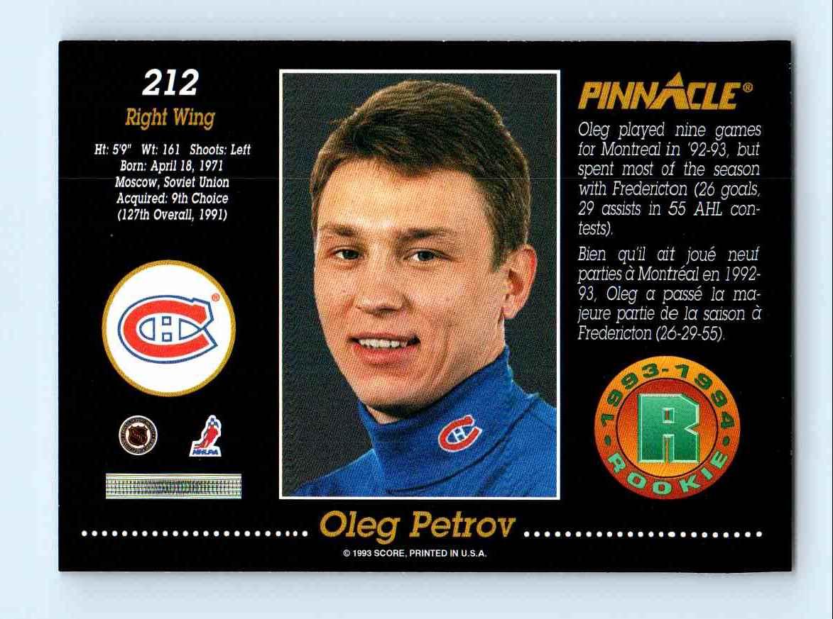 1993-94 Pinnacle Rookie Oleg Petrov #212 card back image