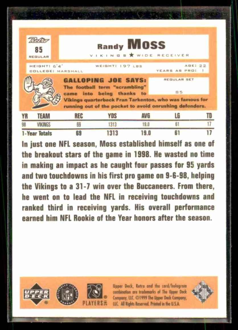 1999 Upper Deck Retro Randy Moss #85 card back image