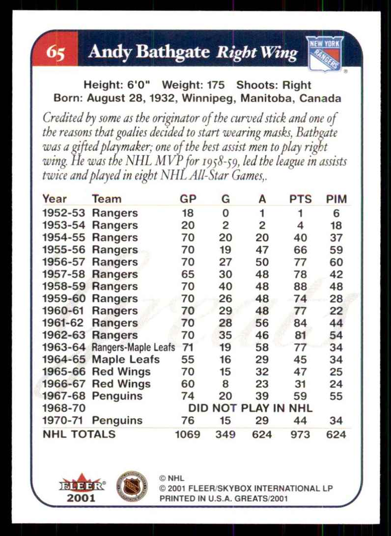 2001-02 Fleer Greats Of The Game Andy Bathgate #65 card back image