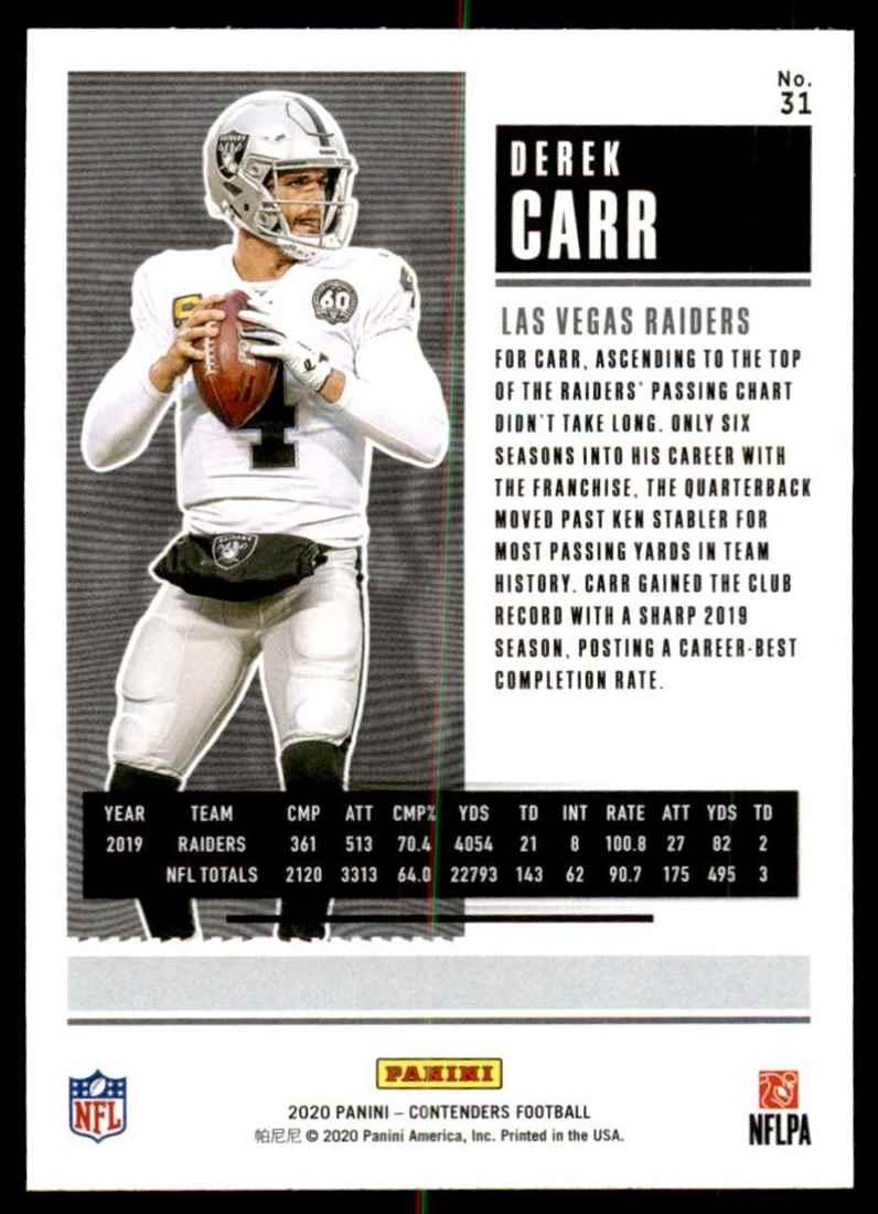 2020 Panini Contenders Derek Carr #31 card back image