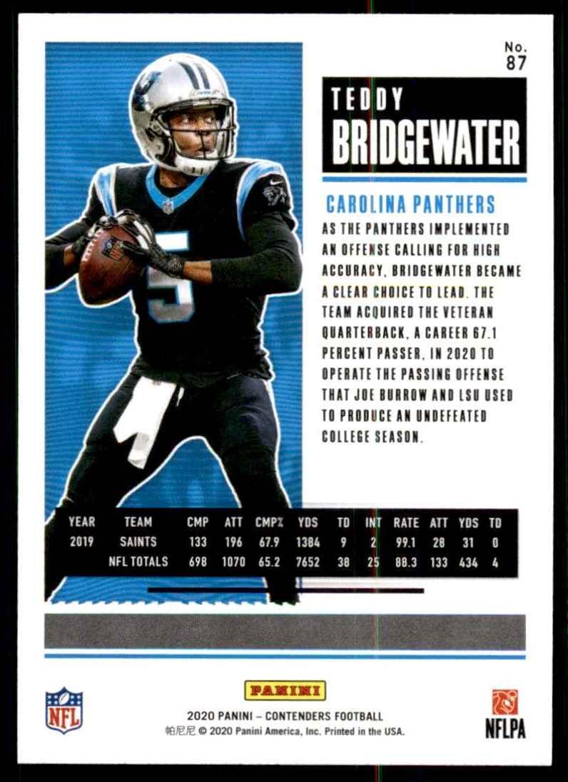 2020 Panini Contenders Teddy Bridgewater #87 card back image