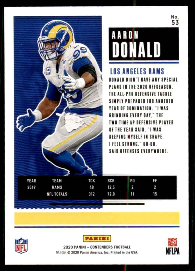 2020 Panini Contenders Aaron Donald #53 card back image