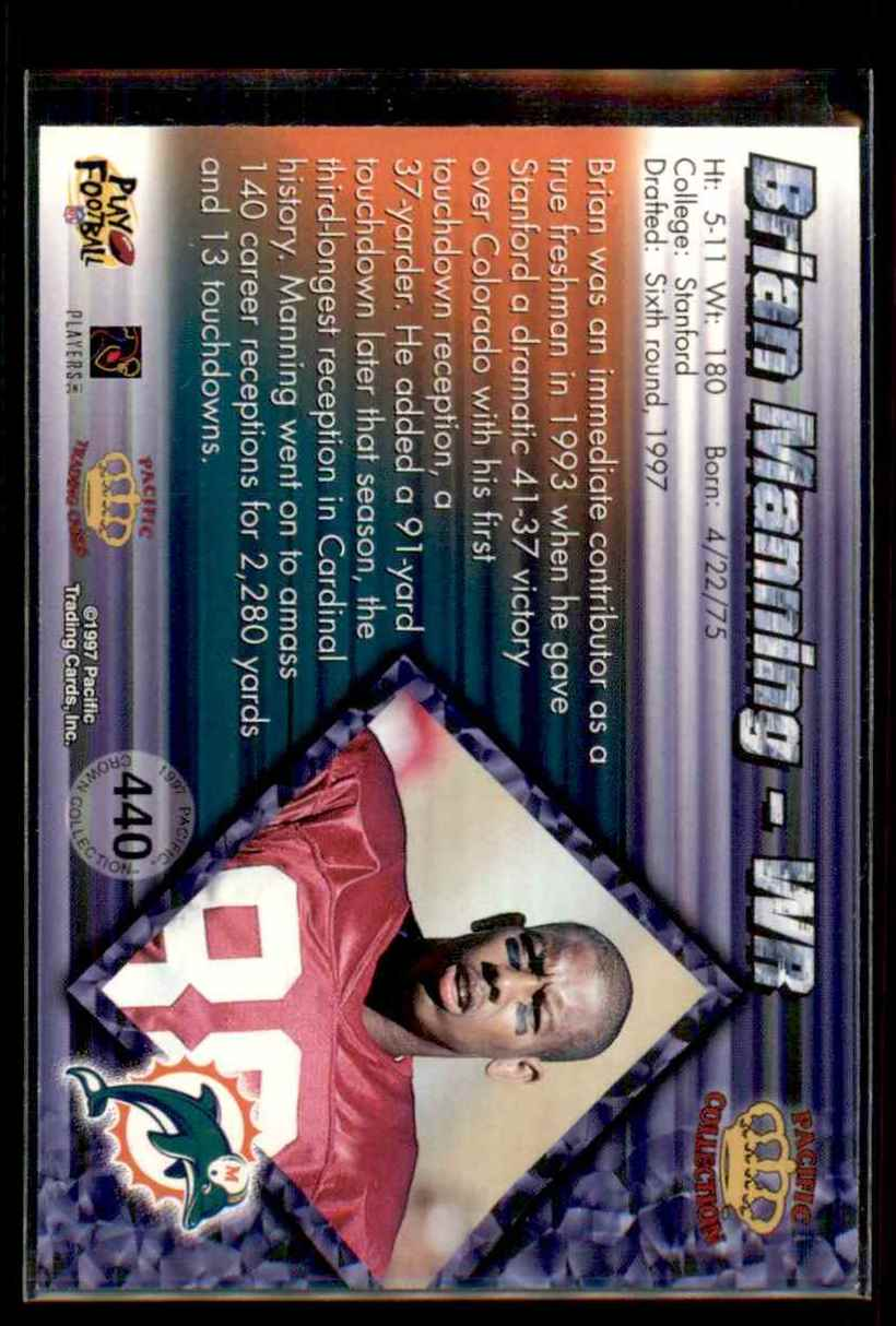 1997 Pacific Brian Manning #440 card back image
