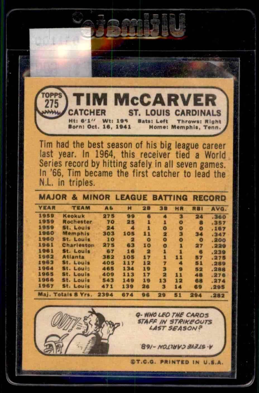1968 Topps Tim McCarver #275 card back image