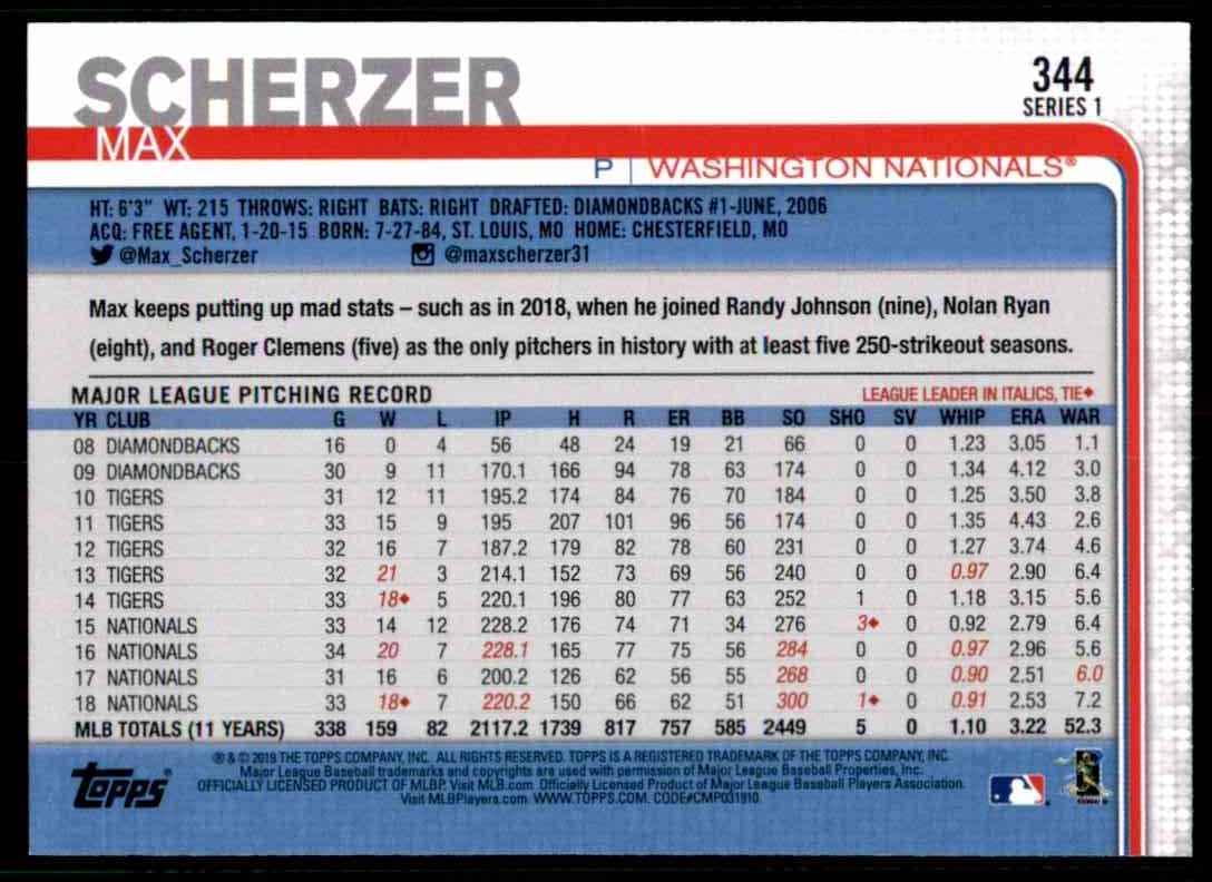 2019 Topps Max Scherzer #344 card back image