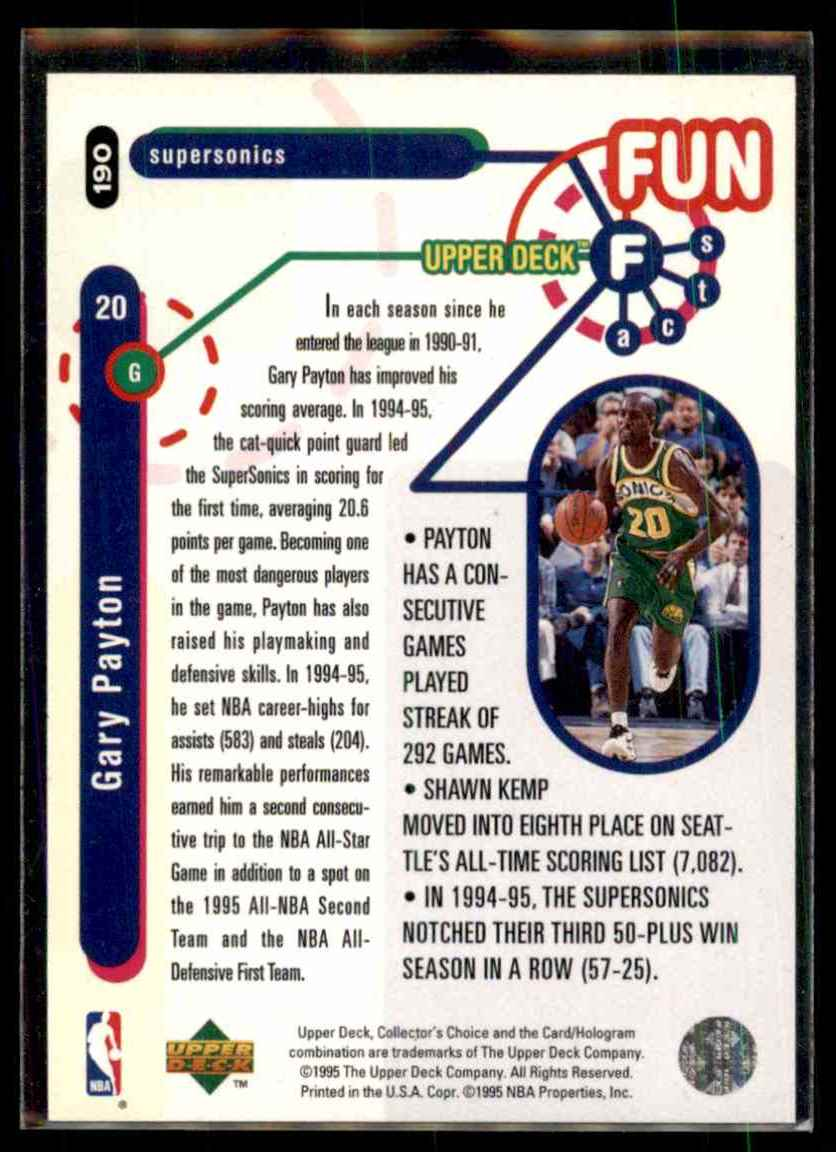 1995-96 Collector's Choice Player's Club Gary Payton #190 card back image