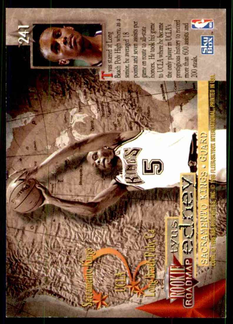 1995-96 Skybox Premium Tyus Edney RC #241 card back image