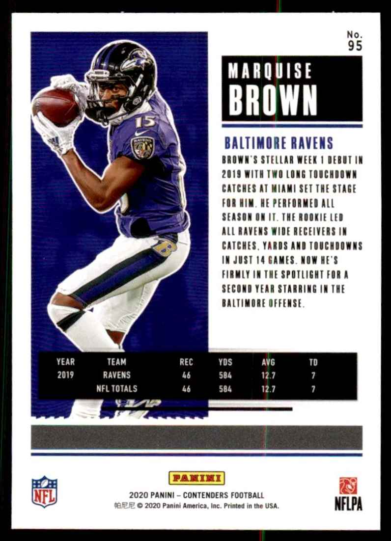 2020 Panini Contenders Marquise Brown #95 card back image