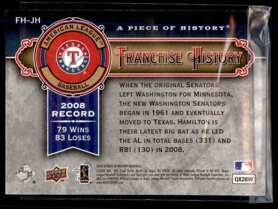 2009 Upper Deck A Piece Of History Franchise History Josh Hamilton #FHJH card back image