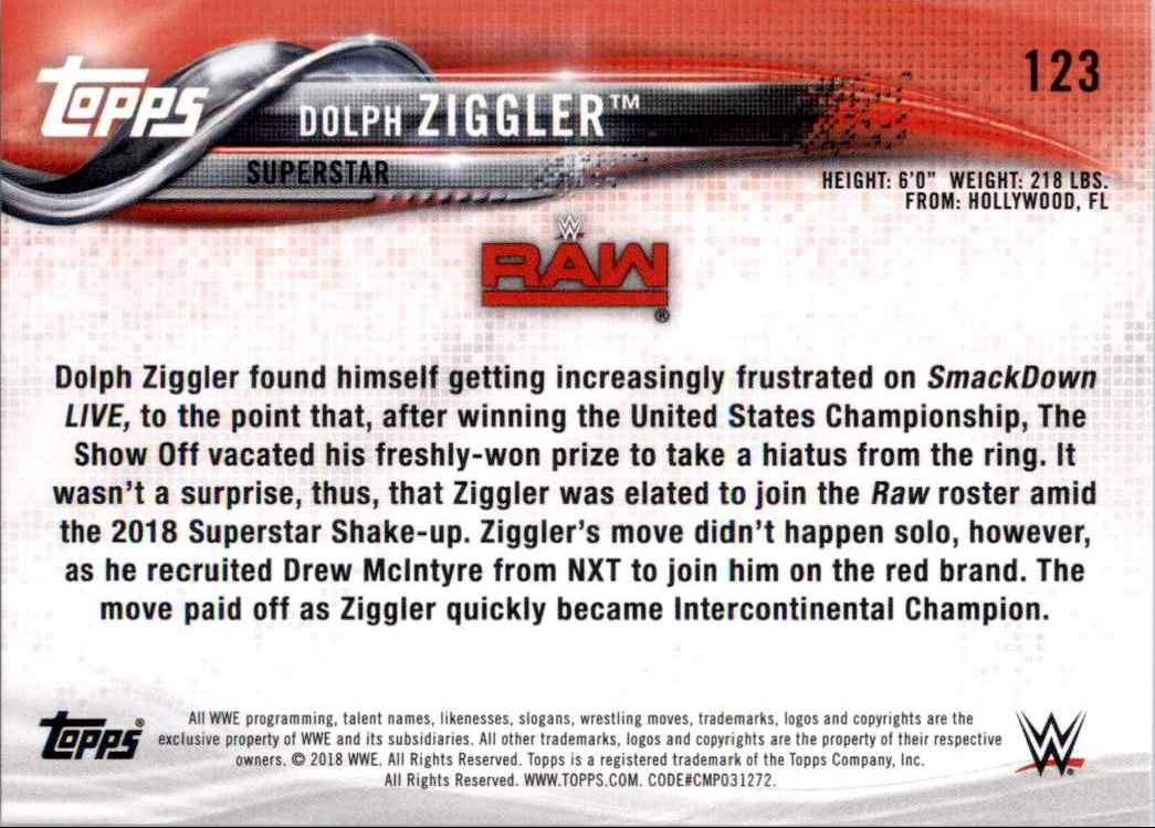 2018 Topps Wwe Then Now Forever Dolph Ziggler #123 card back image