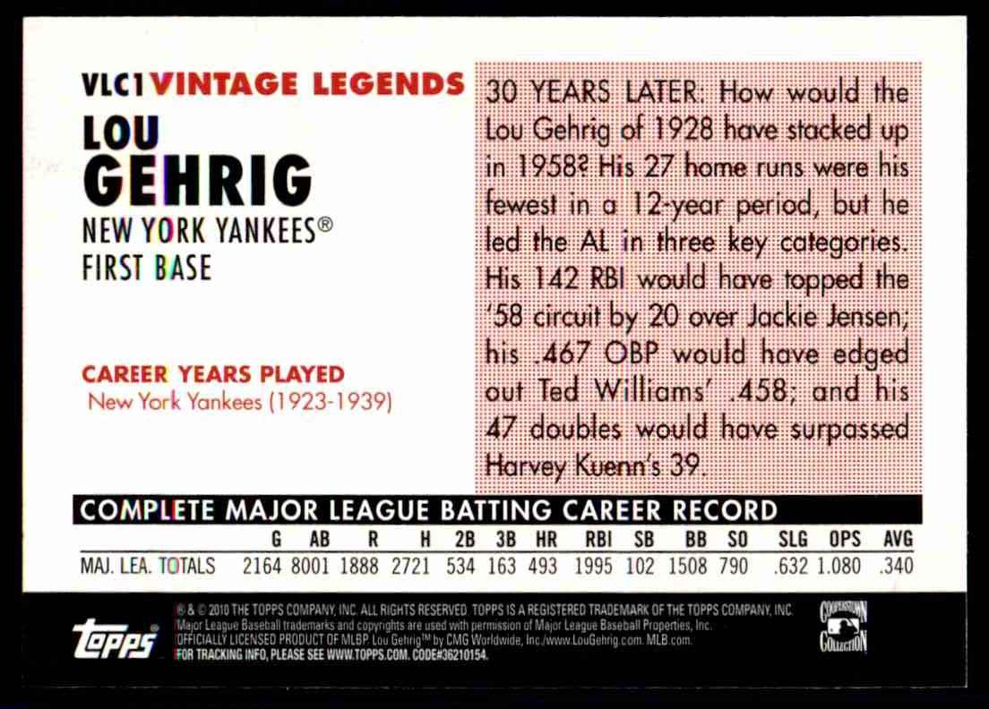 2010 Topps Vintage Legends Collection Lou Gehrig #VLC1 card back image