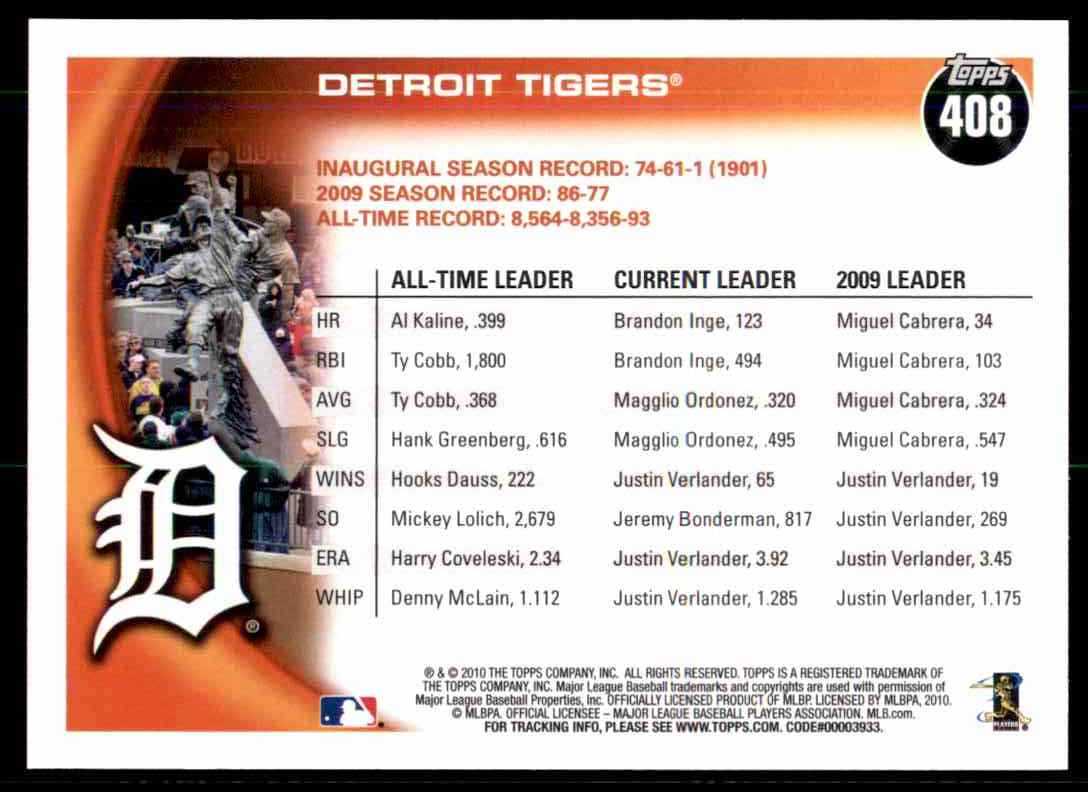 2010 Topps Detroit Tigers #408 card back image