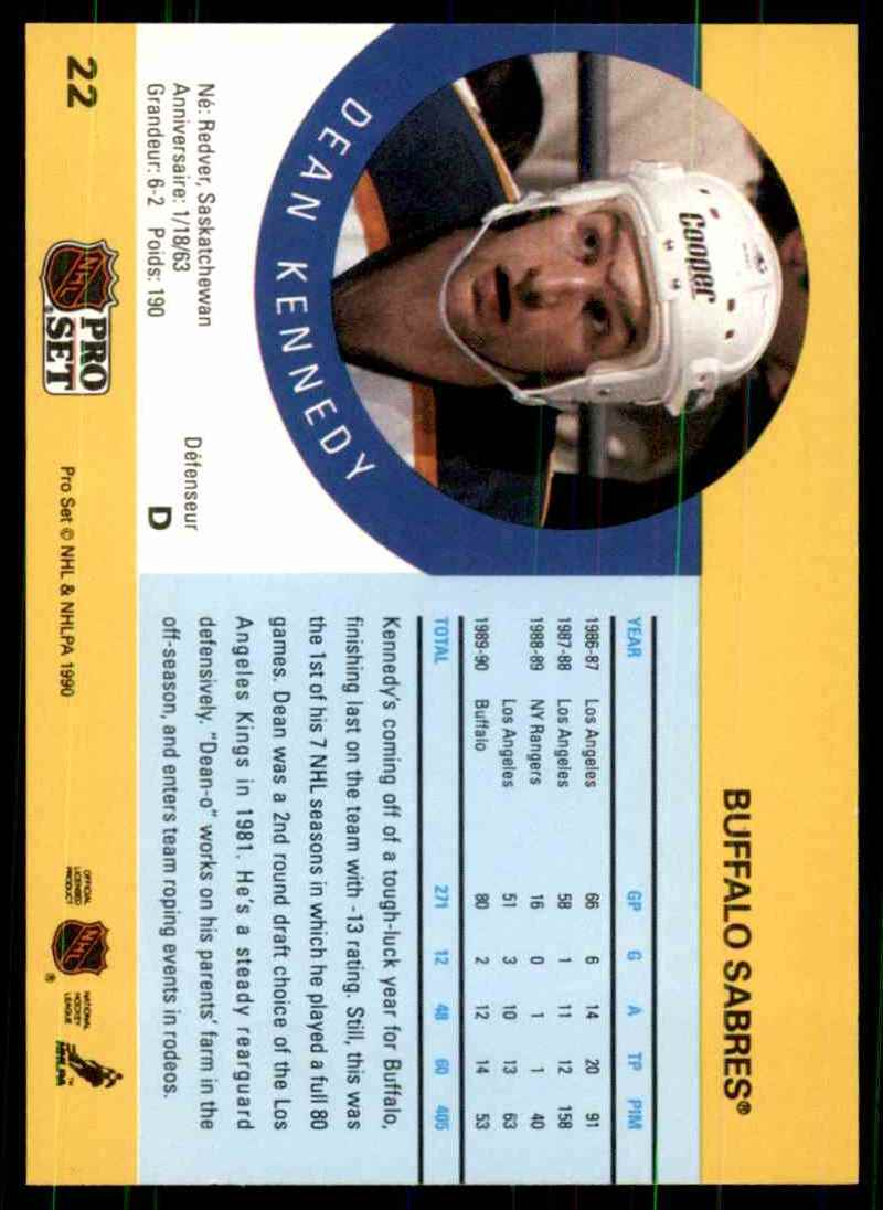 1990-91 Pro Set Dean Kennedy RC #22 card back image