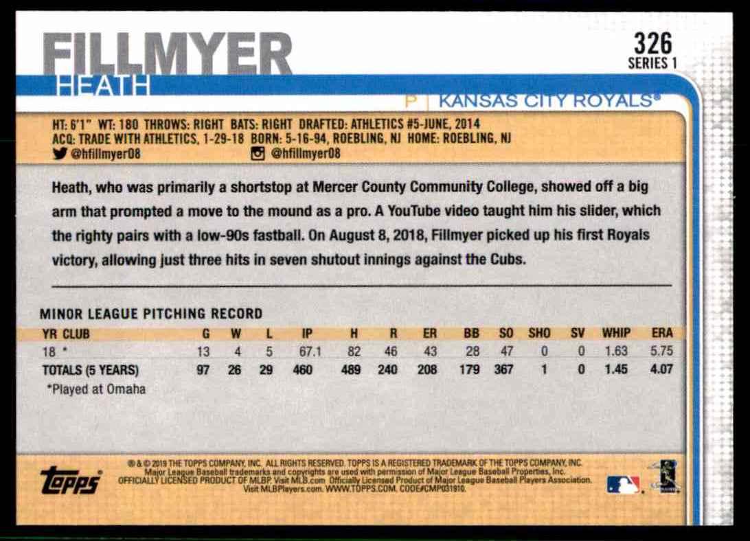 2019 Topps Heath Fillmyer #326 card back image