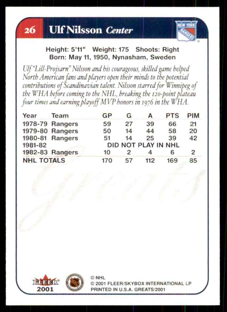 2001-02 Fleer Greats Of The Game Ulf Nilsson #26 card back image