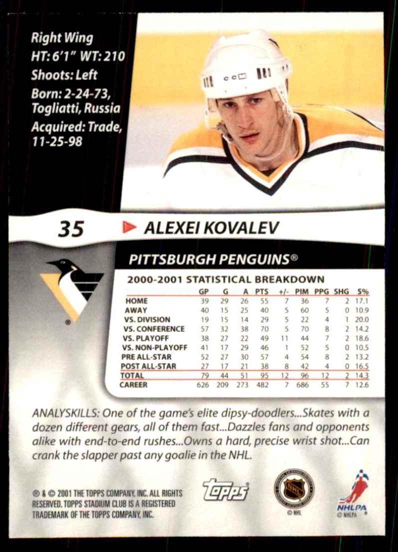 2001-02 Stadium Club Alexei Kovalev #35 card back image