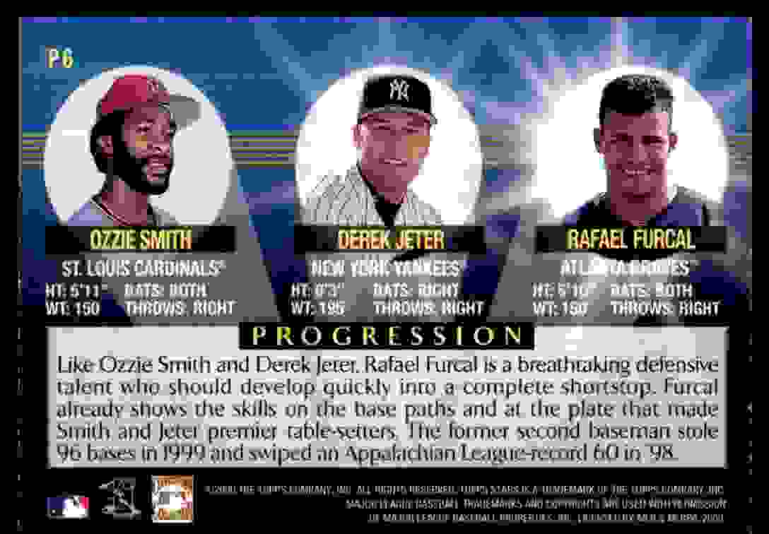 2000 Topps Stars Progression Ozzie Smith Derek Jeter Rafael Furcal #P6 card back image